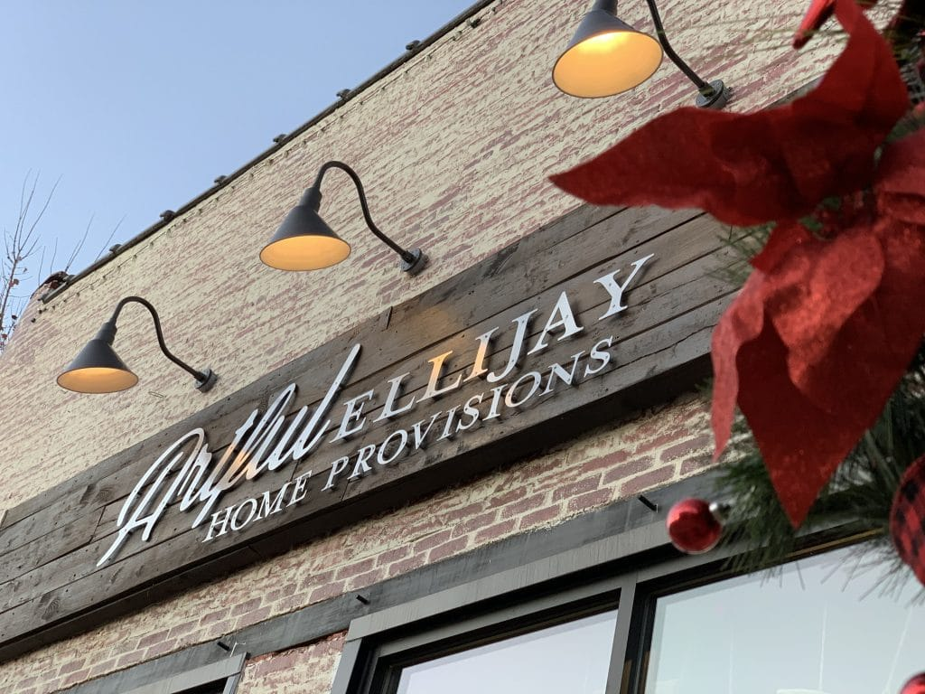 Artful Ellijay holiday store sign