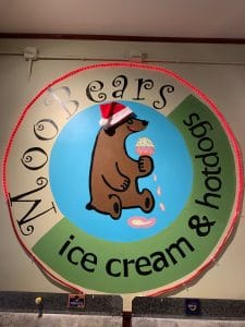 MooBears Ice Cream & Hotdog shop decorated for Christmas with Santa Hat