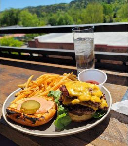 the roof has great burgers